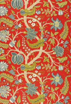 """Schumacher  Jaipur Tree  Poppy  Fabric SKU - 173543  Repeat - Straight  Width - 50""""  Horizontal Repeat - 50""""  Vertical Repeat - 38.5""""  Fabric Content - 69% Linen / 31% Cotton  Country of Finish - France  Available colorways   View All  173540 - Sable  173541 - Robin's Egg  173542 - Eggshell  173543 - Poppy"""