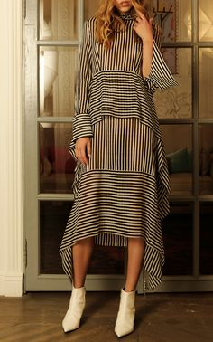 Asymmetrical Tiered Dress by Wisdom Abaya Fashion, Muslim Fashion, Modest Fashion, Fashion Dresses, Look Fashion, Womens Fashion, Fashion Design, Classic Fashion, 80s Fashion