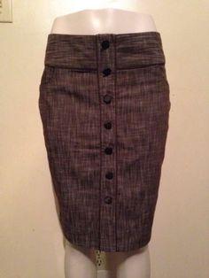 Juniors Charlotte Russe Brown Button Front Pencil Career Secretary Skirt Size 11 $19.99 #career #secretary #skirts #charlotterusse