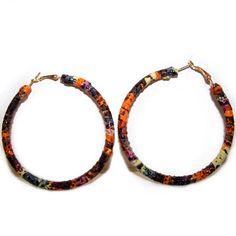 Medium Leather Multicolored Hoop Earrings