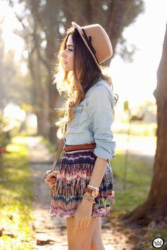 FashionCoolture - 06.08.2015 look du jour Slywear printed skirt denim shirt (2)