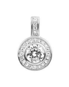 79a1791018501f Diamonfire Classical Silver White Cubic Zirconia Halo Pave Pendant