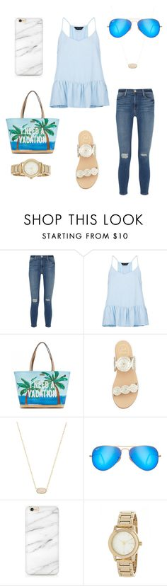 """""""Preppy Casual"""" by preppy-lilly-girl ❤ liked on Polyvore featuring Frame Denim, New Look, Kate Spade, Jack Rogers, Kendra Scott, Ray-Ban and DKNY"""