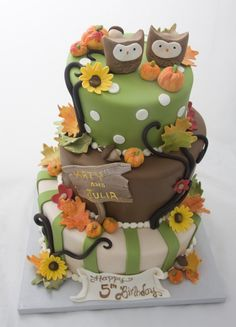 Great Image of Fall Birthday Cakes . Fall Birthday Cakes Cutest Fall Owl Cake Ever Ill Have To Get A Lot Better With Fall Birthday Cakes, Fall Birthday Parties, Twin Birthday, Cupcakes, Cupcake Cakes, Owl Cakes, Thanksgiving Cakes, Cake Blog, Birthday Cake Decorating
