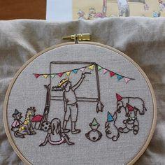 おはようございます☀ 久しぶりに少し雨が降って清々しい月曜日の東京です。 . 可愛い図案に針が進みました❤︎ お洗濯前に記念撮影です。 . 今週も元気に過ごせますように! . Original illustration by @by.bm . #embroidery