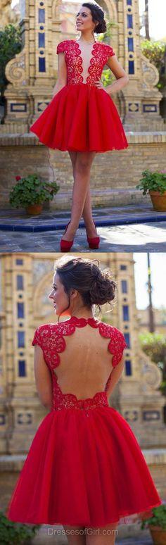 Red Prom Dresses, Short Prom Dress, Lace Homecoming Dress, Backless Homecoming Dresses, Princess Cocktail Dress #shortpromdresses