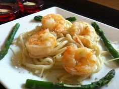 DJ Dave Diner 3/8 Asian Sake Shrlmp Scampi - Because of the unexpected hail today, I kept it indoors, with a little Asian/Italian fusion. Fresh udon noodles vault shrimp I steamed in butter, garlic, sake, and Chardonnay infused sea salt. A little sprinkled Parmesan and..... Oishii!