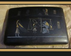 Japanese Egyptianesque Cigarette CaseSigned24k/Shakudo by VdeB, $175.00