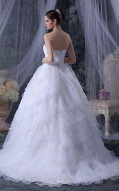Perlenbesetztes Prinzessin pompöse Brautkleid mit Pailletten mit mehrschichtigen Rüsche - Emodeshop.de