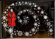 Window decals on Christmas retail window
