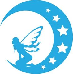 Fantasy Clipart Image - A Blue Silhouette Of A Fairy On The Moon