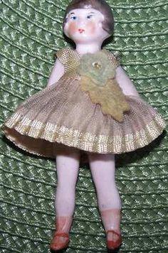 Antique German Bisque Flapper Miniature Dollhouse Doll in Green Original Outfit | eBay