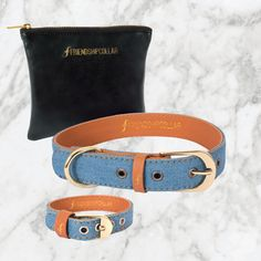 Friendship collar & bracelet for you & your dog! Great Genes light denim Boutique By by FriendshipCollar on Etsy