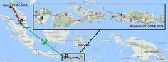 GPS Route Kerékpártúra a Dél-Kelet-Ázsia (például a 27-30.08.2016)