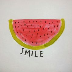 Smile - by Milla illustrations  #watermelon #watercolors #smile