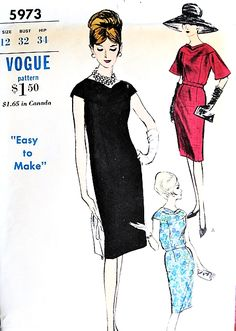 1960s ELEGANT Day or Evening Sheath Dress Pattern VOGUE 5973 Two Classy Versions Perfect Little Cocktail Party Dress Bust 32 Vintage Sewing Pattern Vogue Dress Patterns, Dress Making Patterns, Vintage Dress Patterns, Vintage Dresses, Fashion History, Fashion News, Sheath Dress, Dress Skirt, B 13