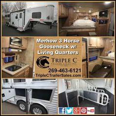 Merhow 3 Horse Gooseneck with Living Quarters from Triple C Trailer Sales