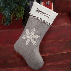Create a warm welcome for Santa with the Classic Herringbone Snowflake Personalized Christmas Stocking. Personalize each stocking with any name embroidered in your choice of multiple thread colors and font options. Unique Christmas Stockings, Embroidered Christmas Stockings, Diy Stockings, Christmas Stocking Pattern, Classy Christmas, White Christmas, Beautiful Christmas, Outdoor Christmas Decorations, Christmas Crafts