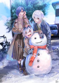 Kaneki Ken, Kirishima Touka y Ichika Touka Kaneki, Ken Kaneki Tokyo Ghoul, Manga Art, Manga Anime, Anime Art, Tamako Love Story, Tokyo Ghoul Wallpapers, Animation, Anime Costumes