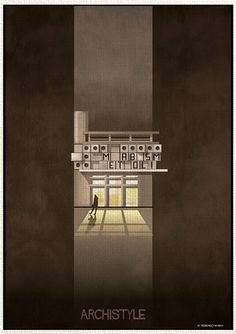 Italian architect and illustrator Federico Babina is back with a new series mixing architecture and illustrations : Archistyle. Facade Architecture, School Architecture, Architecture Graphics, Illustrations, Architect Design, Framed Art Prints, Art History, Architectural Styles, Experimental