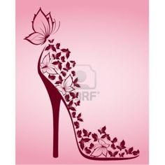 High heel from beautiful butterflies Stock Photo