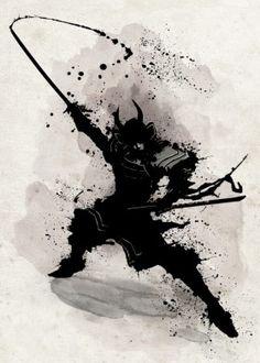samurai katana warrior bushido japan nippon armour black and white fighter