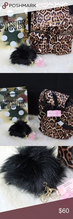 Victoria's Secret Small Cheetah (Animal Print) Ba ictoria's Secret Small Cheeetah (Animal Print) Backpack  Has Adjustable Shoulder Straps 2 Small Front Pockets Draw String w/ Magnet  &  Victoria's Secret Faux Fur Pouf Pom Pom Key Chain Off Duty Brand new with tag Victoria's Secret Bags Backpacks