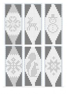 6 FREE Beaded Bead Pattern ___ Some are One Segment Only ___ Pattern Repeats Around ___ Knit Christmas Ornaments, Christmas Toys, Christmas Balls, Crochet Ball, Crochet Chart, Norwegian Knitting, Christmas Knitting Patterns, Theme Noel, Knitting Charts