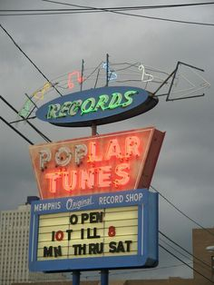 Poplar Tunes, Memphis, TN - Now Closed - This sign is now at the Memphis Rock 'n' Soul Museum