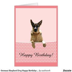 #GermanShepherd #Dog Happy Birthday Pink #Polka #Dots #Card #happybirthday #birthday #animal #pet