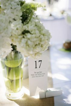 Are those apples in that flower vase?! And look at the table numbers and their meaning! How cute is this?! [<3]
