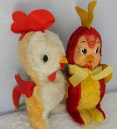 2 Vintage Rushton Roosters Plush Stuffed Animals Hard Plastic Face Tagged Pair #Rushton Stuffed Animals, Dinosaur Stuffed Animal, Flea Market Style, 1920s Art Deco, Roosters, Athlete, Marble, Plush, Bronze