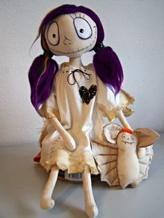 Goth textile Doll Angelina and Bat by ArteAnRy on Etsy