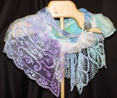 Elizabeth Creates Nuno collage felted wrap with hand dyed vintage linens and hand bead work, Artful Dimensions Gallery