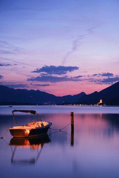 Sunset at Lake Wolfgangsee near Salzburg, Austria #austria #salzburg #wolfgangsee #lake #sunset #summer #water #boat