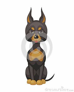 Doberman terrier pinscher. Vector image of a cute purebred dogs in cartoon style.