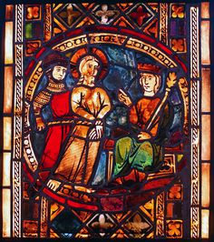 Christ before Herod. Gothic stained glass from St. Nicolas Church (Dominicans) in Toruń. Nowadays in District Museum in Toruń (Poland). Medieval Stained Glass, Stained Glass Angel, Faux Stained Glass, Stained Glass Windows, Medieval Pattern, Interior Design History, Wine Bottle Wall, Wine Bottles, Examples Of Art
