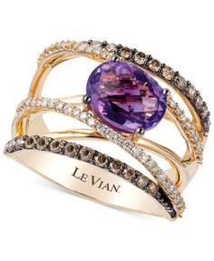 Le Vian Amethyst (1-3/8 ct. t.w.)and Diamond (3/4 ct. t.w.) Crossover Ring in 14k Gold
