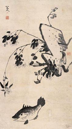淸代 - 八大山人 (款) - 芙蓉游鱼圖