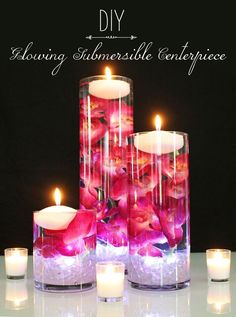 Light up your wedding with glowing submersible centerpieces. Submerge faux orchids in water, and add a floating candle and submersible light for a romantic DIY c (Diy Candles Wedding) Floating Candle Centerpieces, Wedding Table Centerpieces, Flower Centerpieces, Wedding Decorations, Wedding Tables, Submerged Centerpiece, Wedding Reception, Wedding Venues, Quinceanera Centerpieces