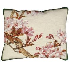 Cherry Blossom Flowers Needlepoint Pillow