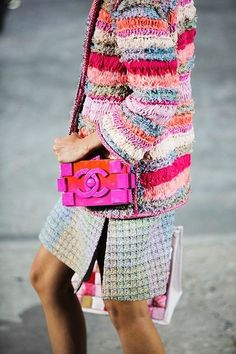 beautiful knitting, Chanel boxy small cross body bag in bright orange and fuchsia pink, colorful striped knitted cardigan, Street Fashion, High Fashion, Womens Fashion, Sac Boy, Mode Chanel, Chanel Jacket, Fashion Details, Fashion Design, Mode Style