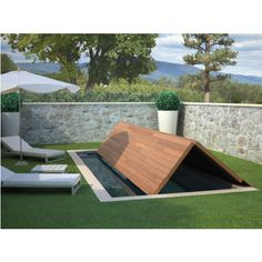 cubiertas automaticas para piscinas - Buscar con Google Small Backyard Design, Small Backyard Pools, Small Pools, Patio Chico, Outdoor Spaces, Outdoor Living, Moderne Pools, Swiming Pool, Garden Buildings