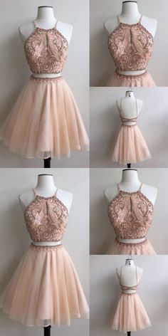 Two Piece Homecoming Dress,Pink Prom Dresses, Beading Short Party · PromMode · Online Store Powered by Storenvy Unique Homecoming Dresses, Two Piece Homecoming Dress, Prom Dresses Two Piece, Pink Prom Dresses, Formal Evening Dresses, Quinceanera Dresses, Pretty Dresses, Beautiful Dresses, Sexy Dresses