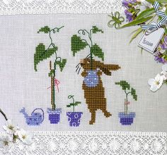 herbs: magical vases from christiane dahlbeck - cross stitch