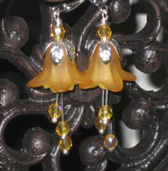 Sunshine Lily Flower Earrings by Sarahberra on Etsy, $6.00