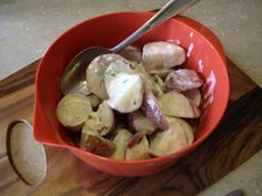 Early potatoes simmered in a cream,chive and dill sauce, a Ukrainian classic. This is exactly how I do mine...amazing