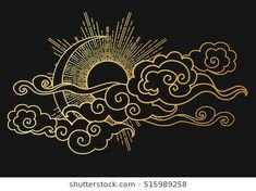 Find Sun Moon Cloudy Sky Decorative Graphic stock images in HD and millions of other royalty-free stock photos, illustrations and vectors in the Shutterstock collection. Wie Zeichnet Man Manga, Landscape Tattoo, Body Art Tattoos, Cloud Tattoos, Asian Art, Japanese Art, Art Inspo, Line Art, Design Elements
