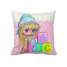 Nursery Children's Little Girl Pillow
