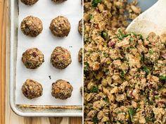veganlentilballs1   Lentil Mushroom Walnut Balls with Cranberry Pear Sauce
